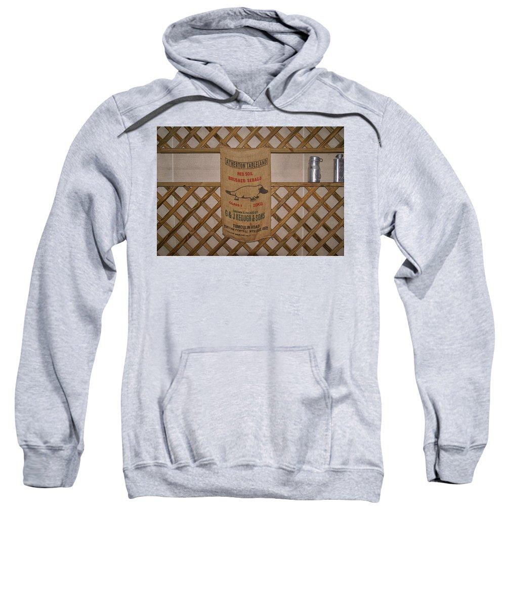 Australia Queensland Qld Sweatshirt featuring the digital art Platapus Jute Bags by Carol Ailles