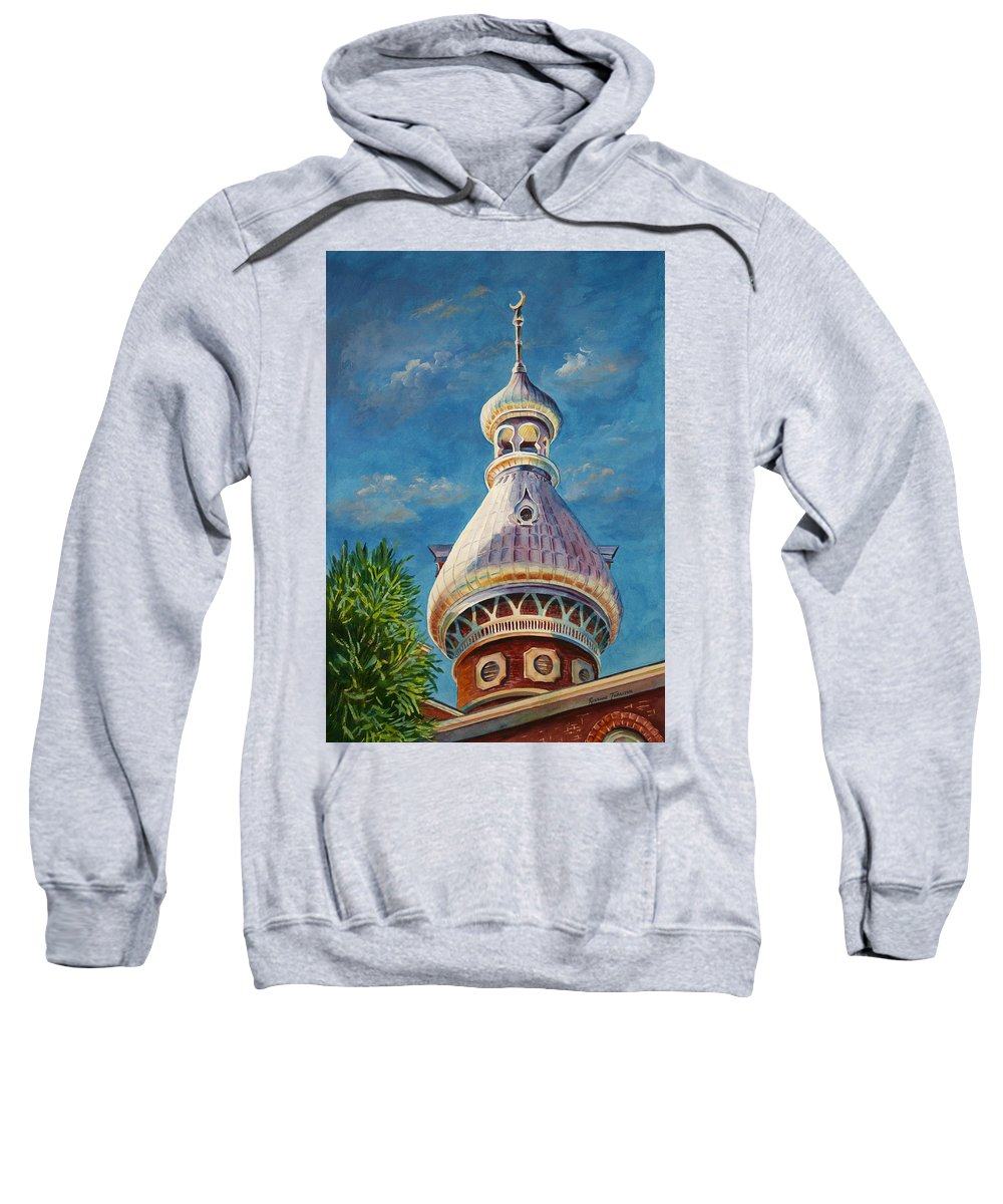 University Of Tampa Sweatshirt featuring the painting Play Of Light - University Of Tampa by Roxanne Tobaison