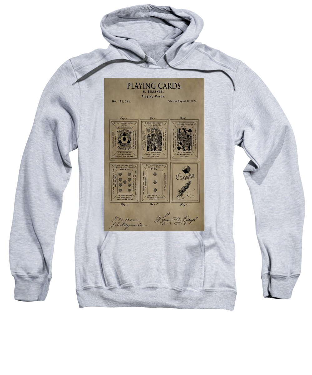 Playing Cards Patent Sweatshirt featuring the mixed media Playing Cards Patent by Dan Sproul