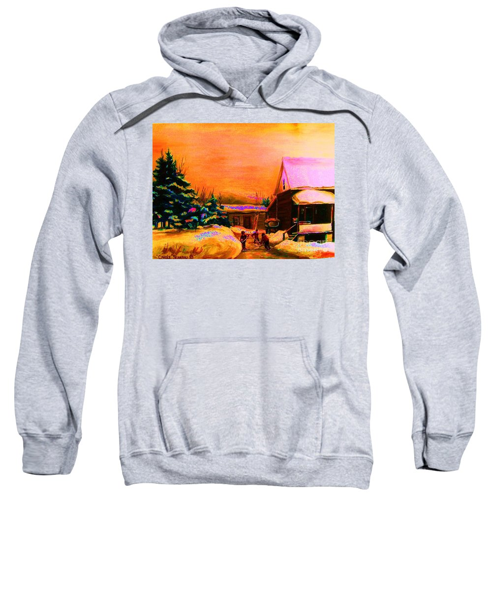 Hocket Art Sweatshirt featuring the painting Playing Until The Sun Sets by Carole Spandau