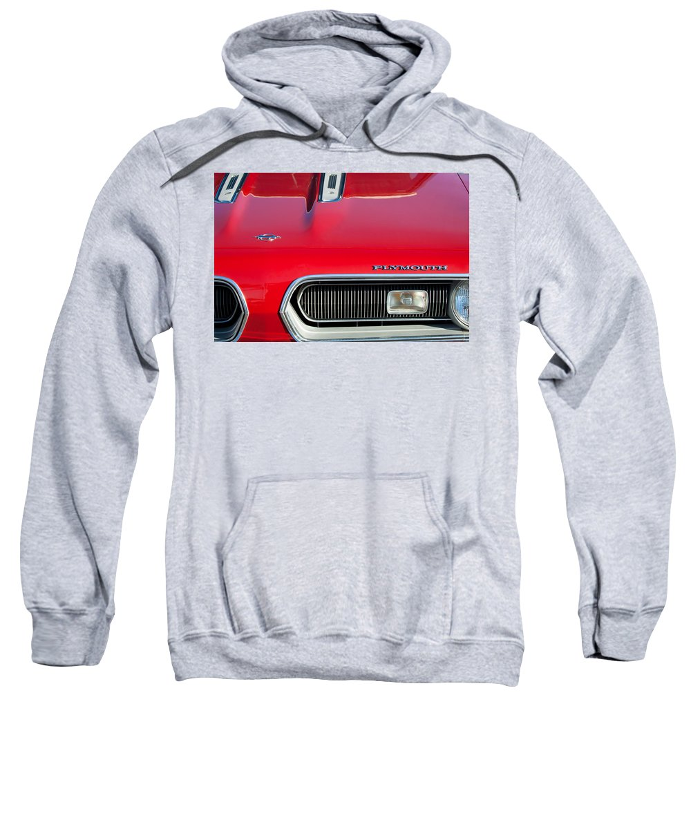 Plymouth Barracuda Sweatshirt featuring the photograph Plymouth Barracuda Grille Emblem by Jill Reger