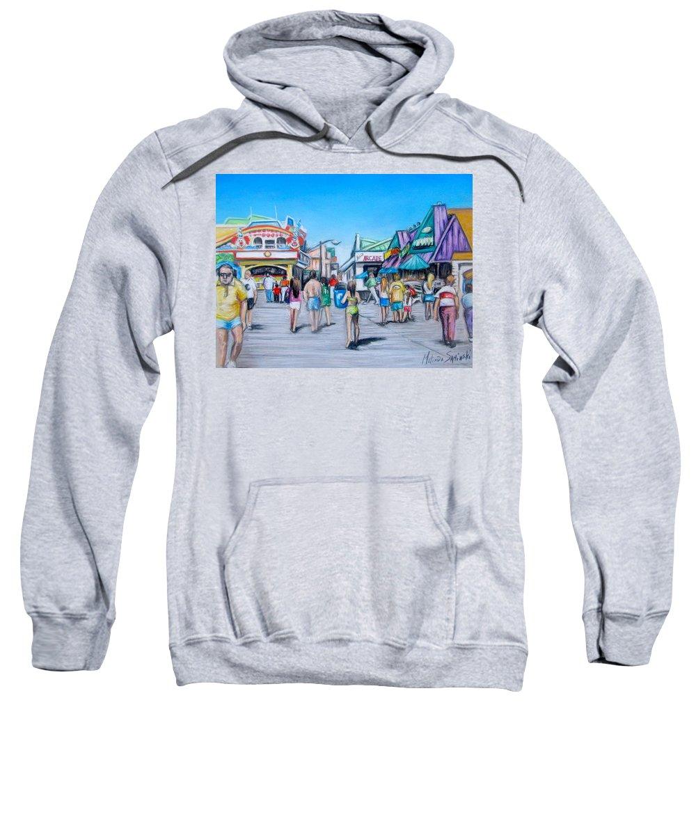Point Pleasant Beach Art Sweatshirt featuring the painting Point Pleasant Beach Boardwalk by Melinda Saminski