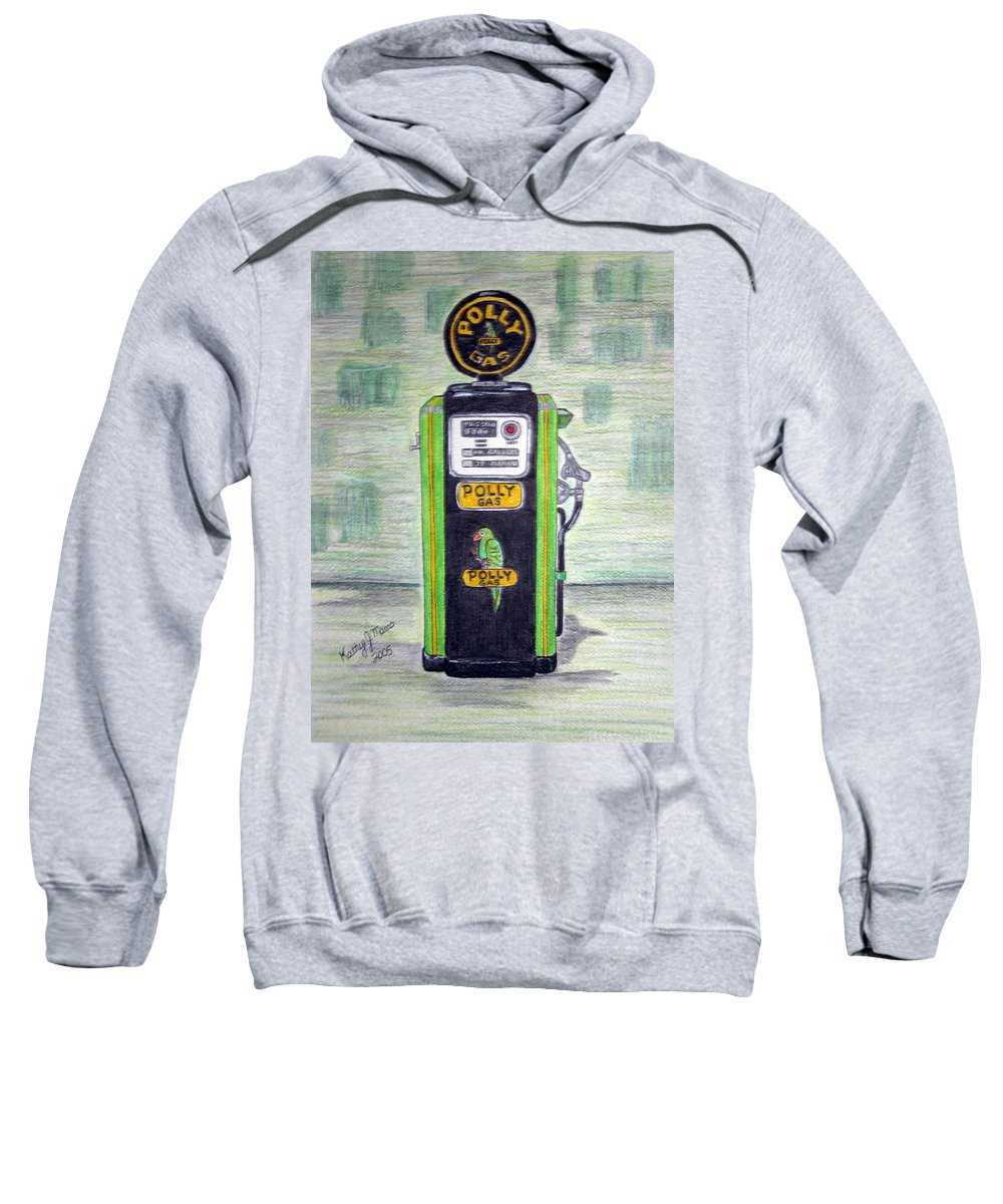 Parrot Sweatshirt featuring the painting Polly Gas Pump by Kathy Marrs Chandler