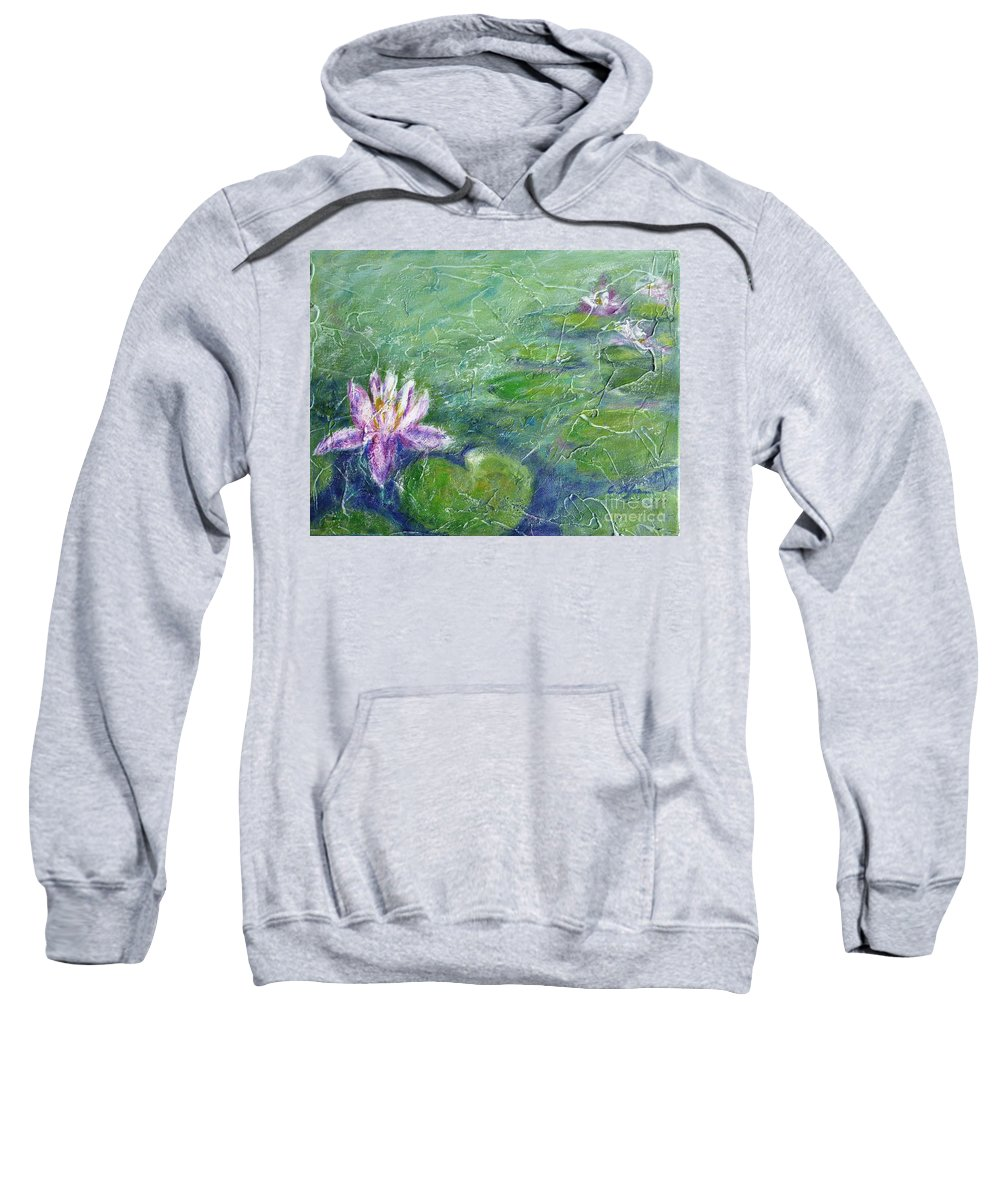 Water Lily Sweatshirt featuring the painting Green Pond With Water Lily by Cristina Stefan