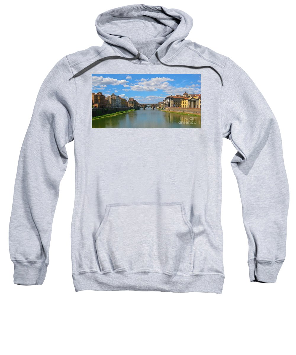 Beautiful Rivers Sweatshirt featuring the photograph Ponte Vecchio Over The Arno River At Florence Italy by John Malone
