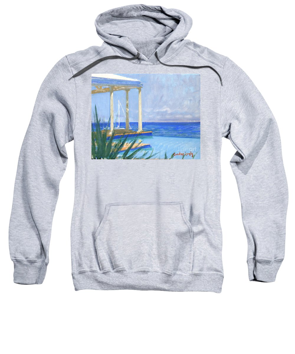 Infinity Pool Sweatshirt featuring the painting Pool Cabana Morning by Candace Lovely