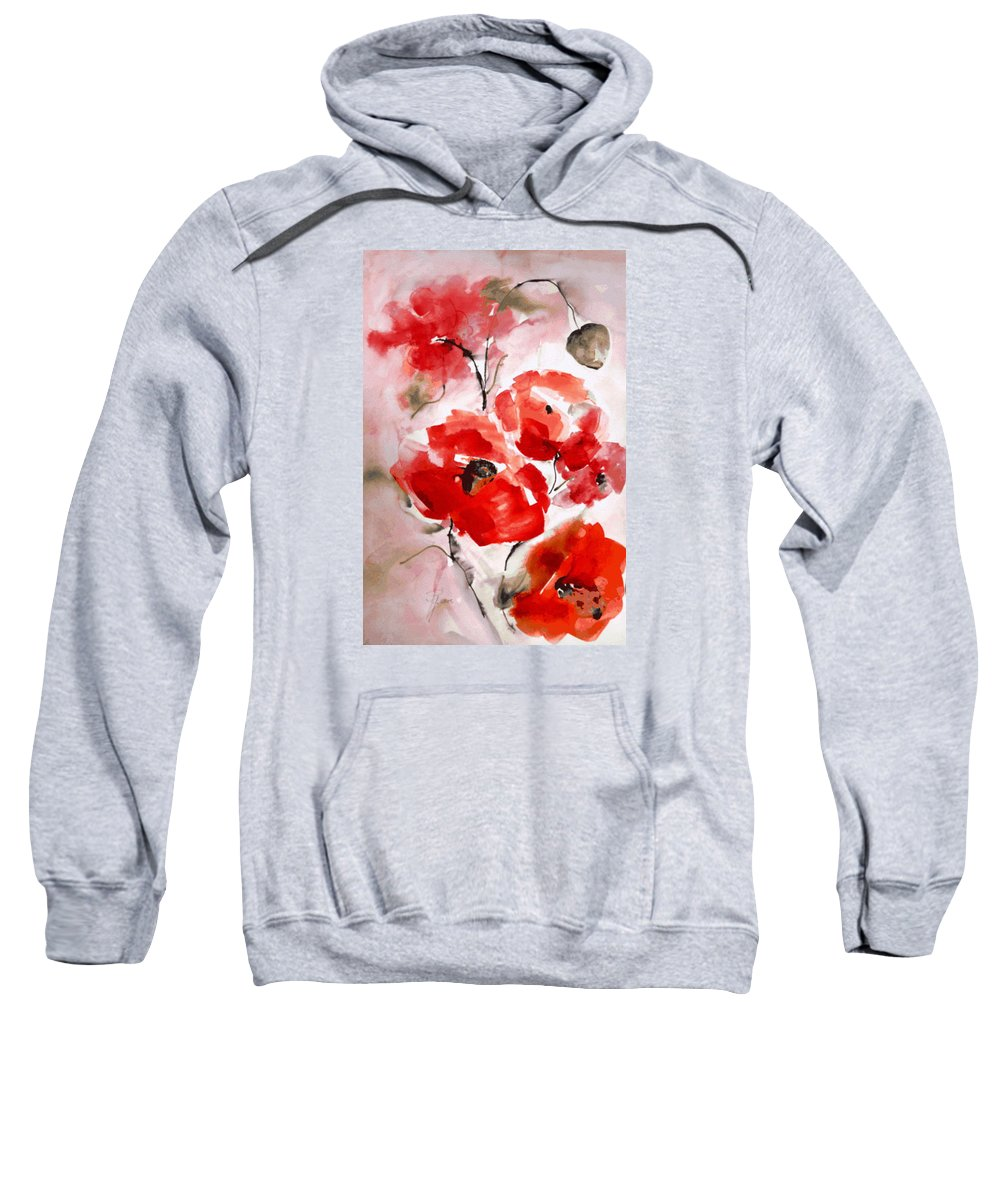 Hedwig Pen Poppies I Sweatshirt featuring the painting Poppies I by Hedwig Pen