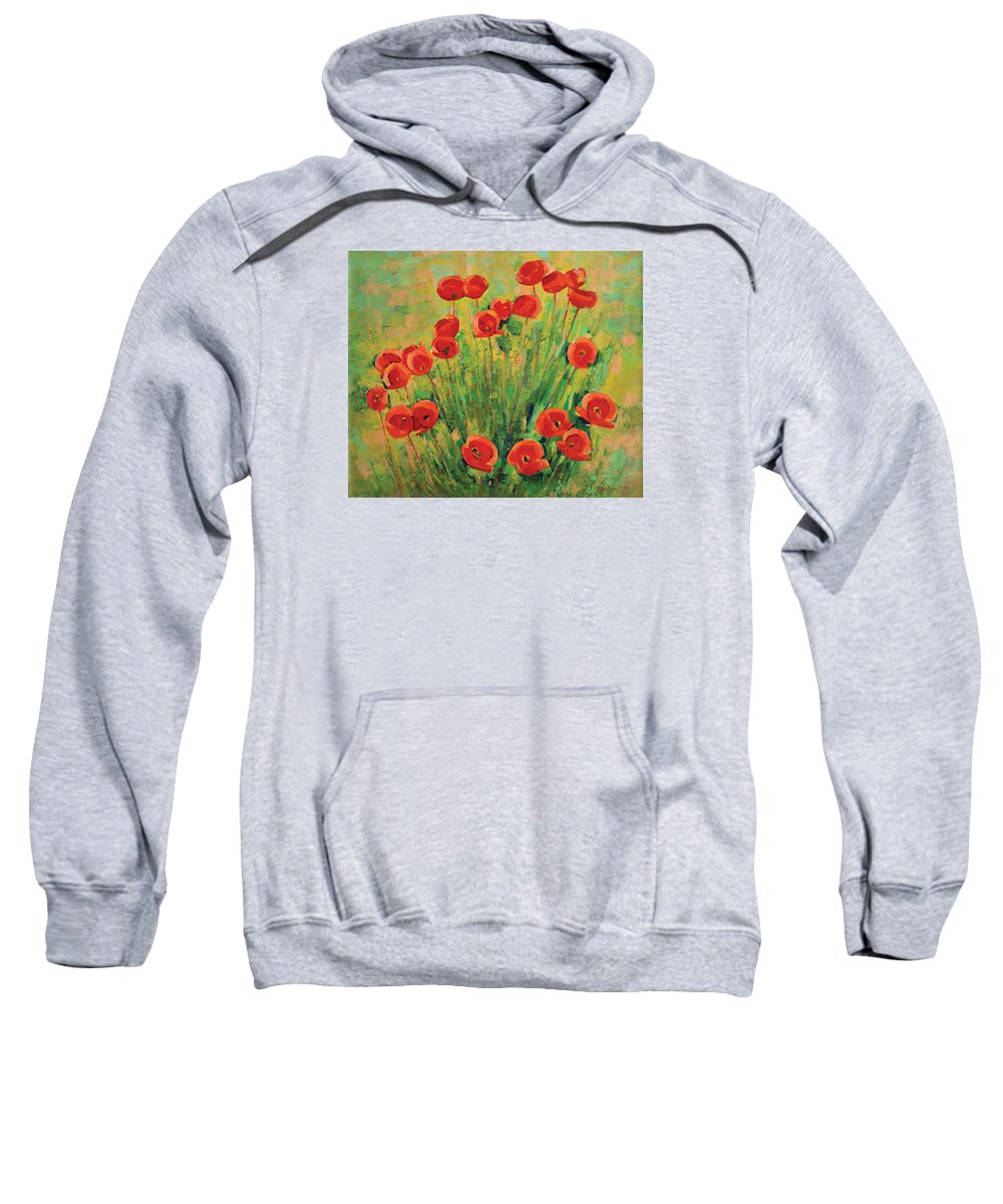 Poppies Sweatshirt featuring the painting Poppies by Iliyan Bozhanov
