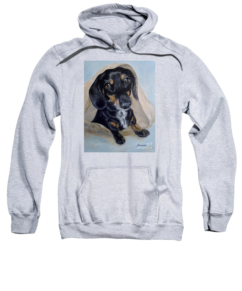 Dog Sweatshirt featuring the painting Dachshund Dog by Graciela Castro