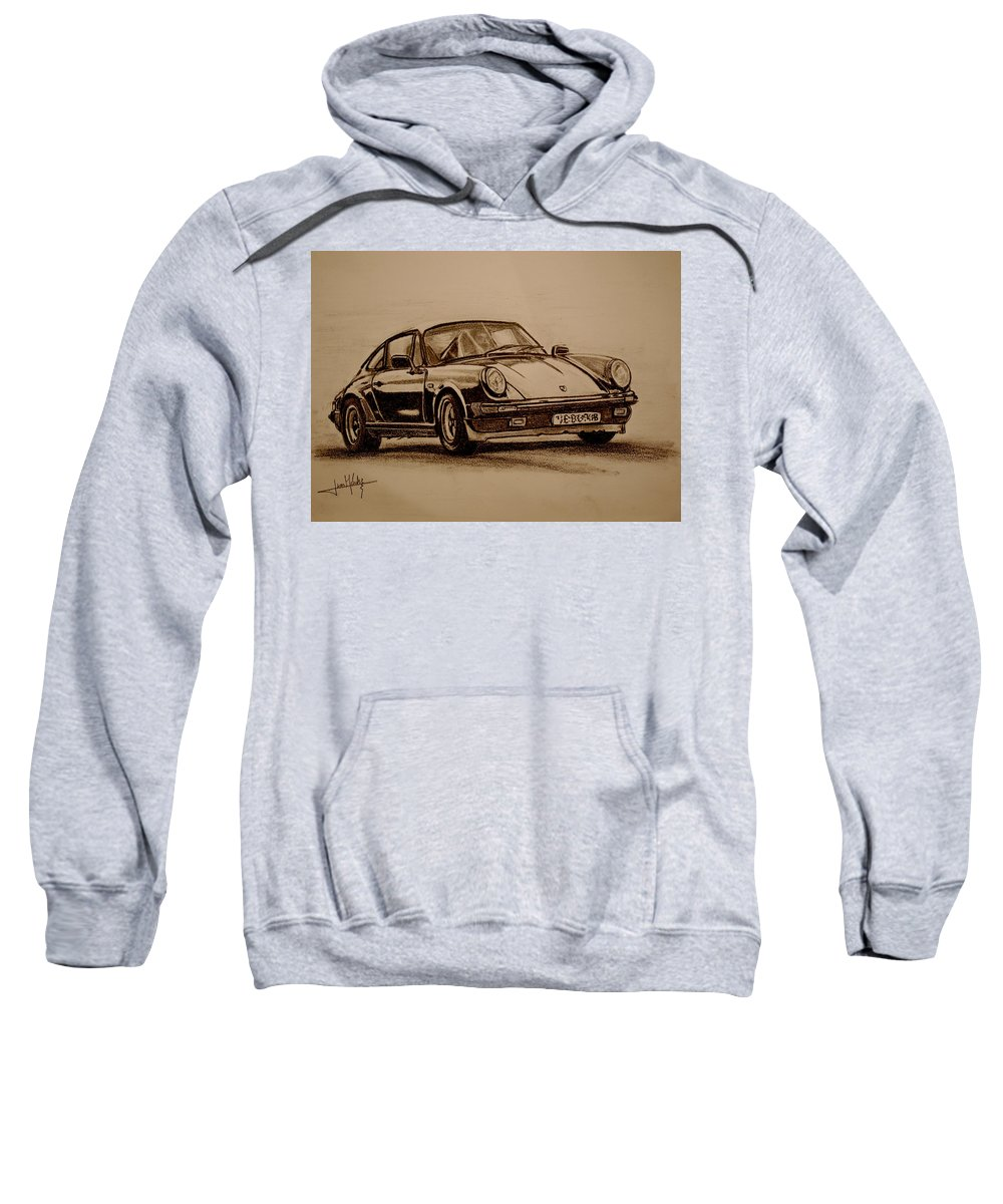 Porsche Sweatshirt featuring the drawing Porsche 911 Carrera by Juan Mendez