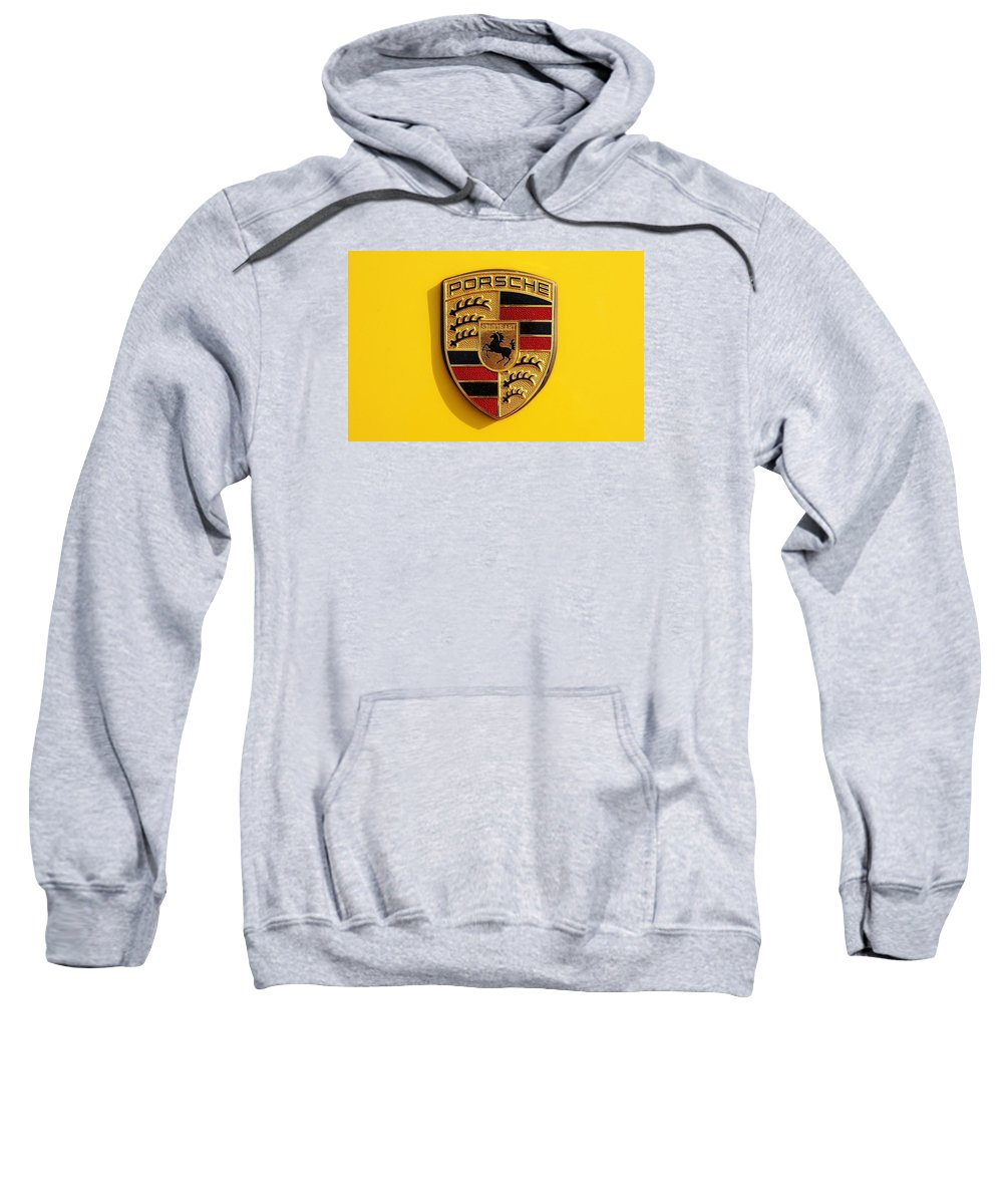 Yellow Porsche Logo Sweatshirt featuring the photograph Porsche by Bradley Dixon