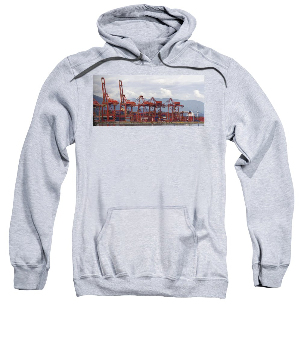 Vancouver Sweatshirt featuring the photograph Port Of Vancouver Bc Cranes And Containers by Jit Lim