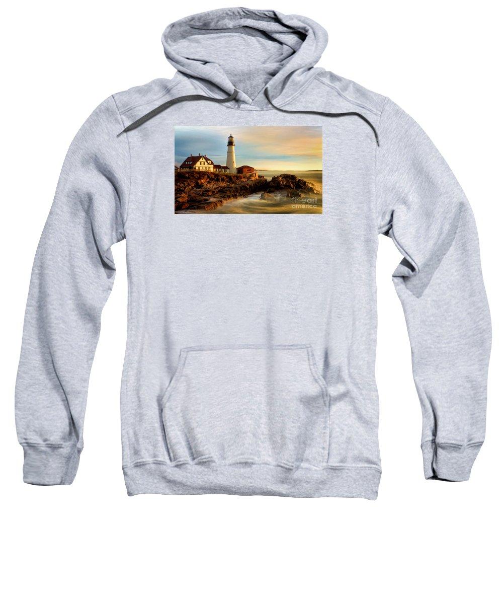 Portland Head Lighthouse Sweatshirt featuring the photograph Portland Head Lighthouse At Dawn by Jerry Fornarotto