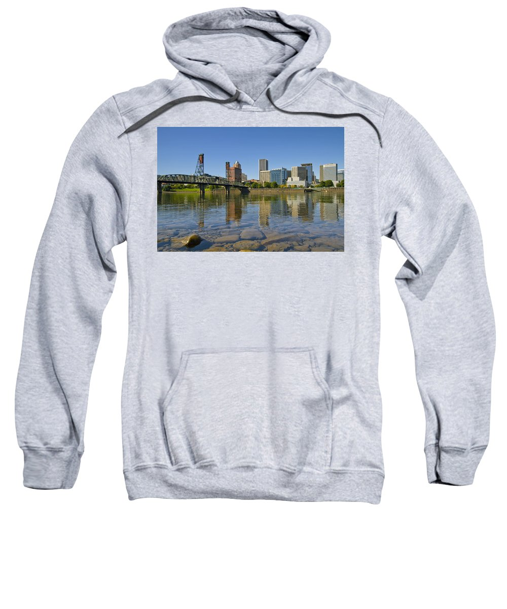 Hawthorne Sweatshirt featuring the photograph Portland Oregon Downtown Skyline Reflection 2 by David Gn