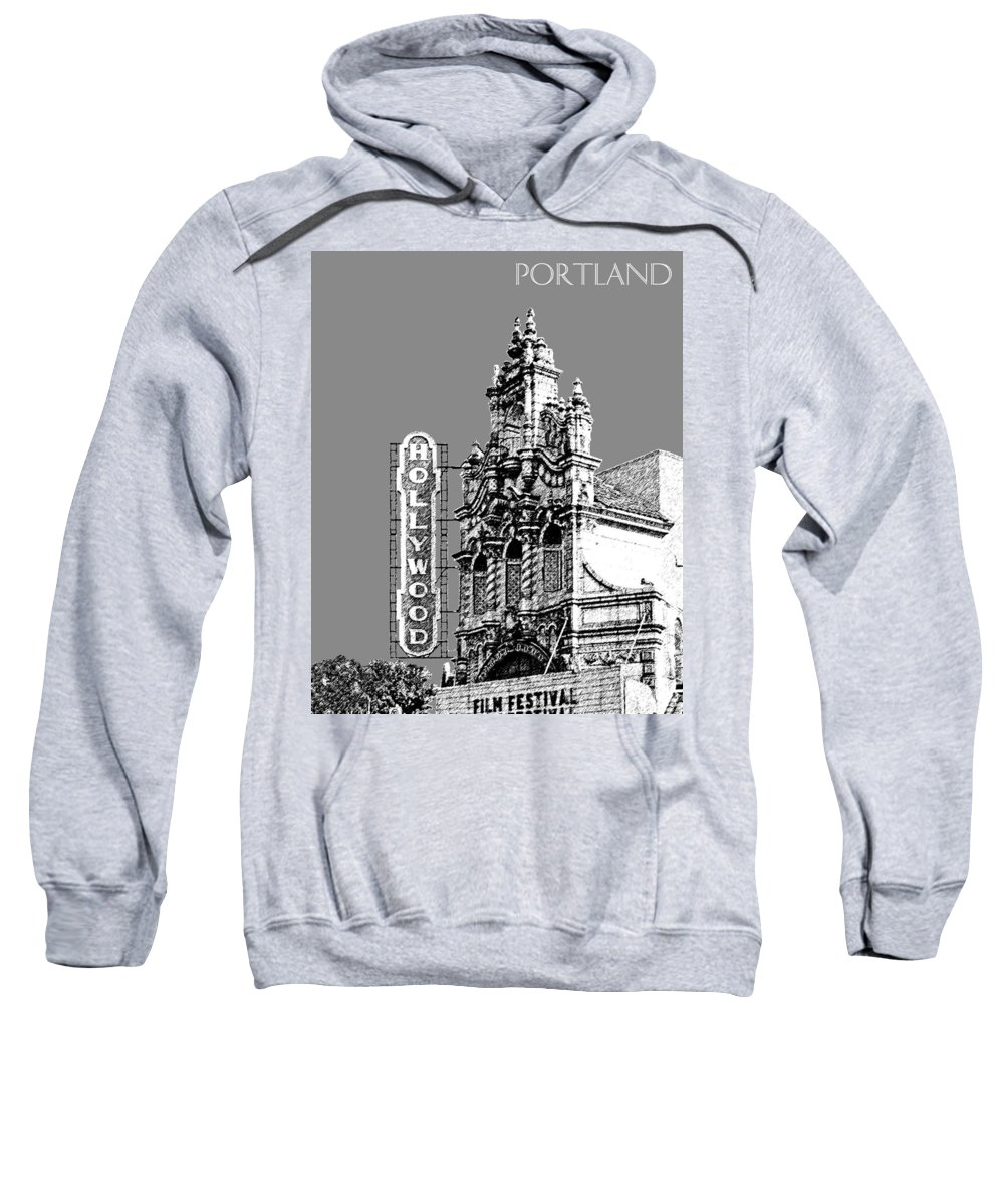 Architecture Sweatshirt featuring the digital art Portland Skyline Hollywood Theater - Pewter by DB Artist