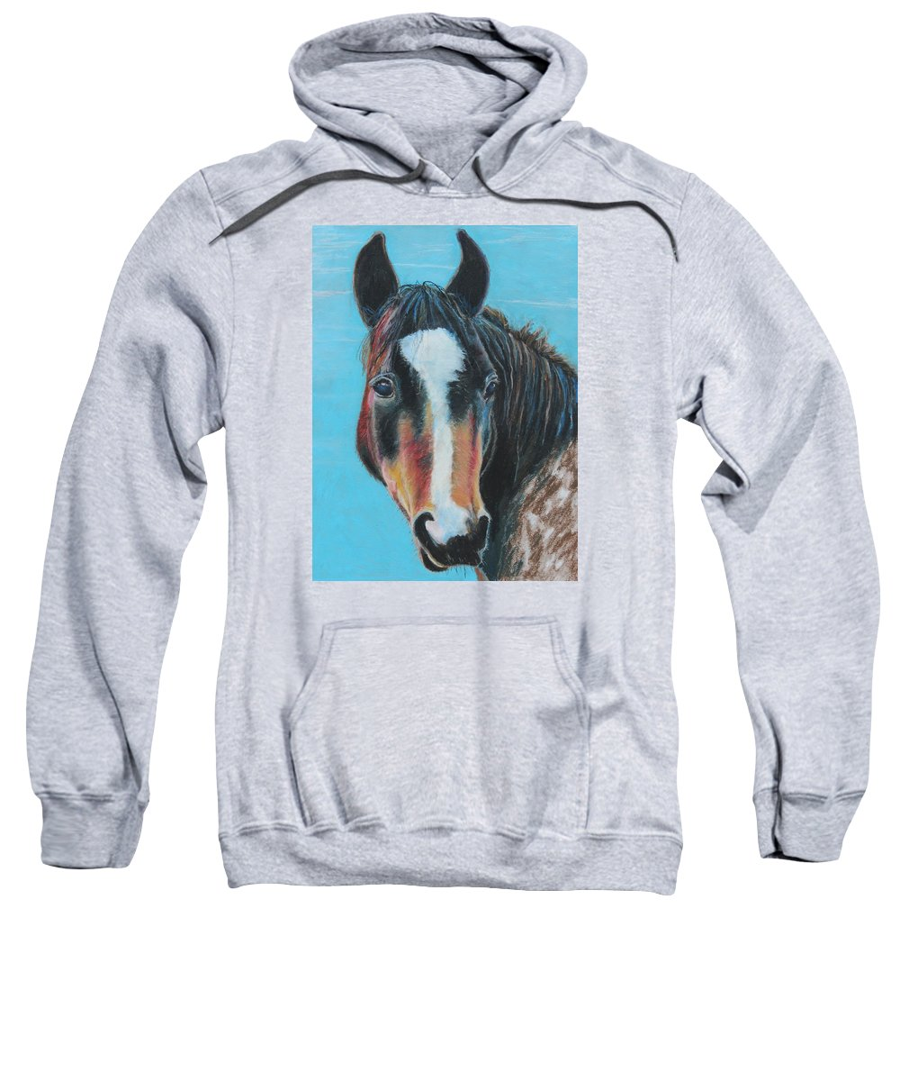 Horse Sweatshirt featuring the painting Portrait Of A Wild Horse by Jeanne Fischer