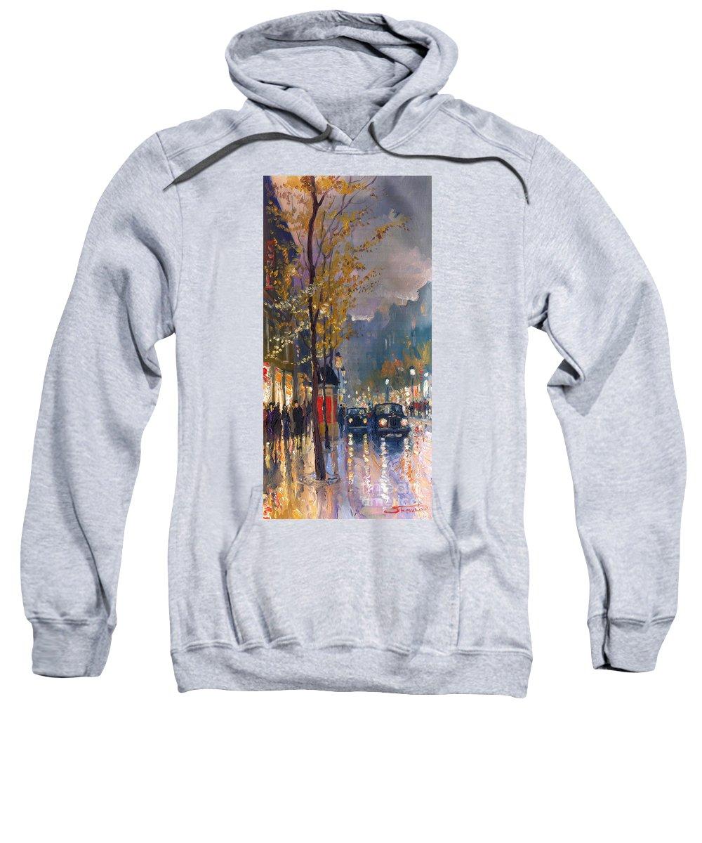 Prague Sweatshirt featuring the painting Prague Old Vaclavske Square 01 by Yuriy Shevchuk