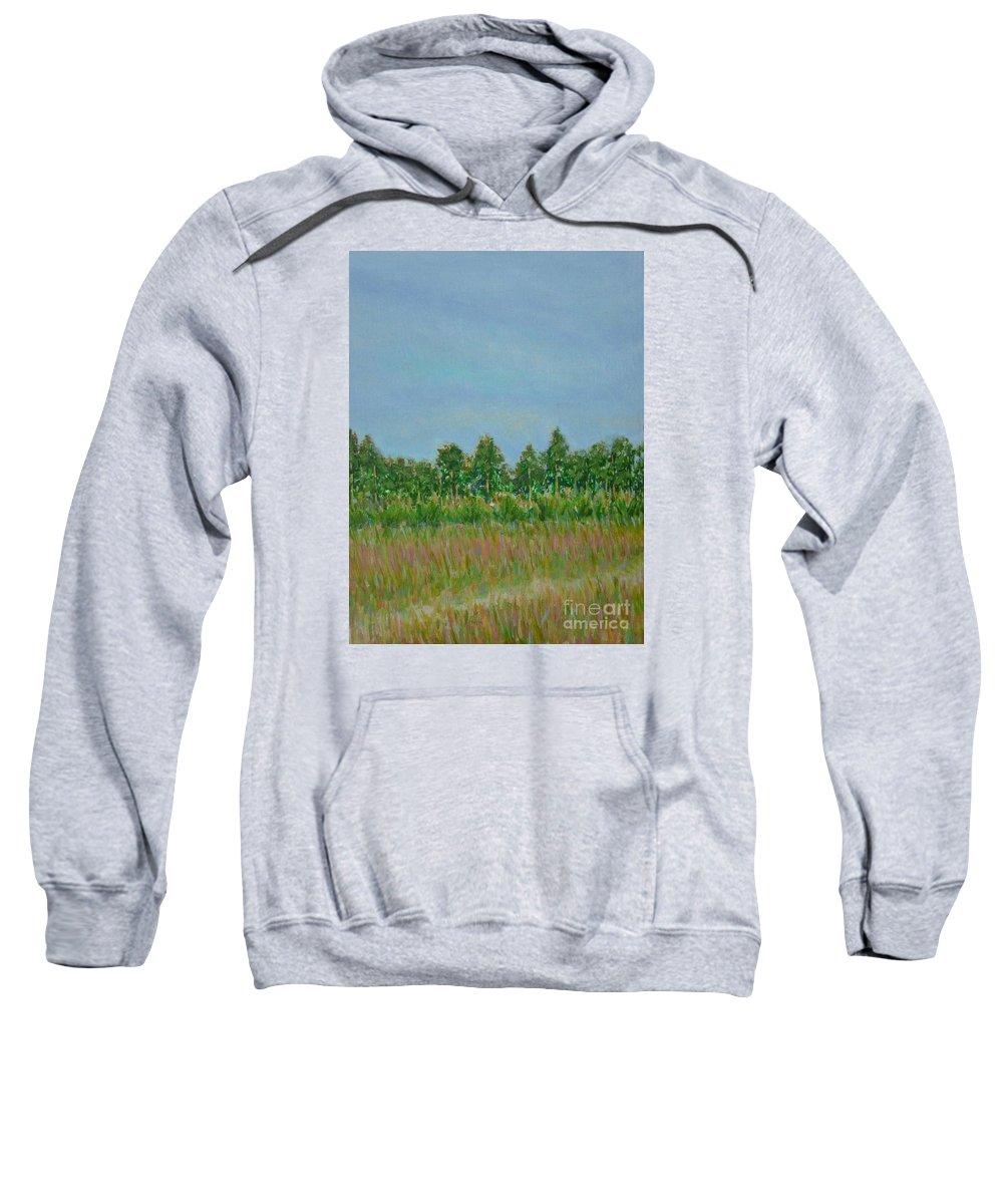 Pantone 2017 Greenery Sweatshirt featuring the painting Prairie Morning Light by Gail Kent