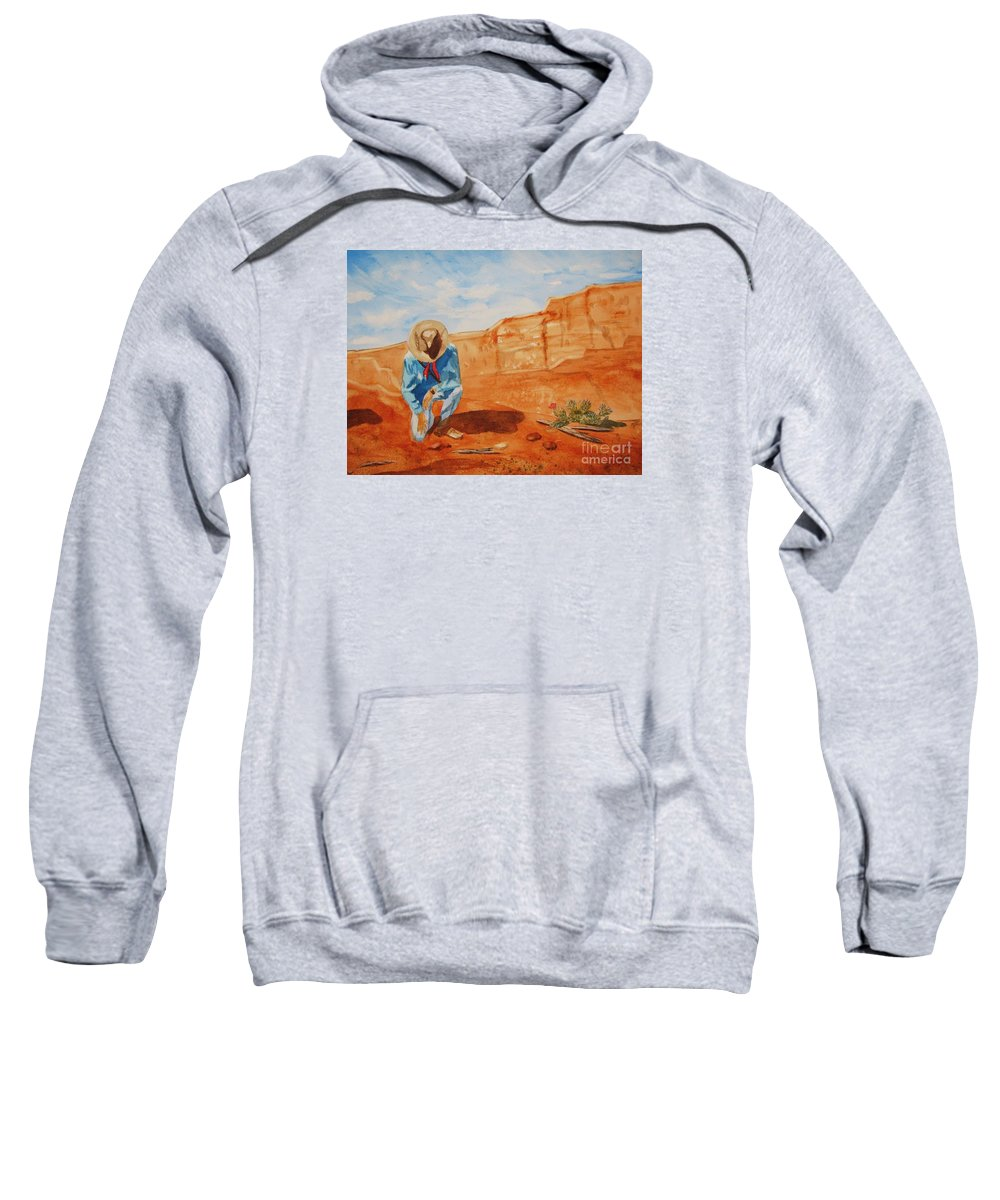 Sedona Sweatshirt featuring the painting Prayer For Earth Mother by Ellen Levinson