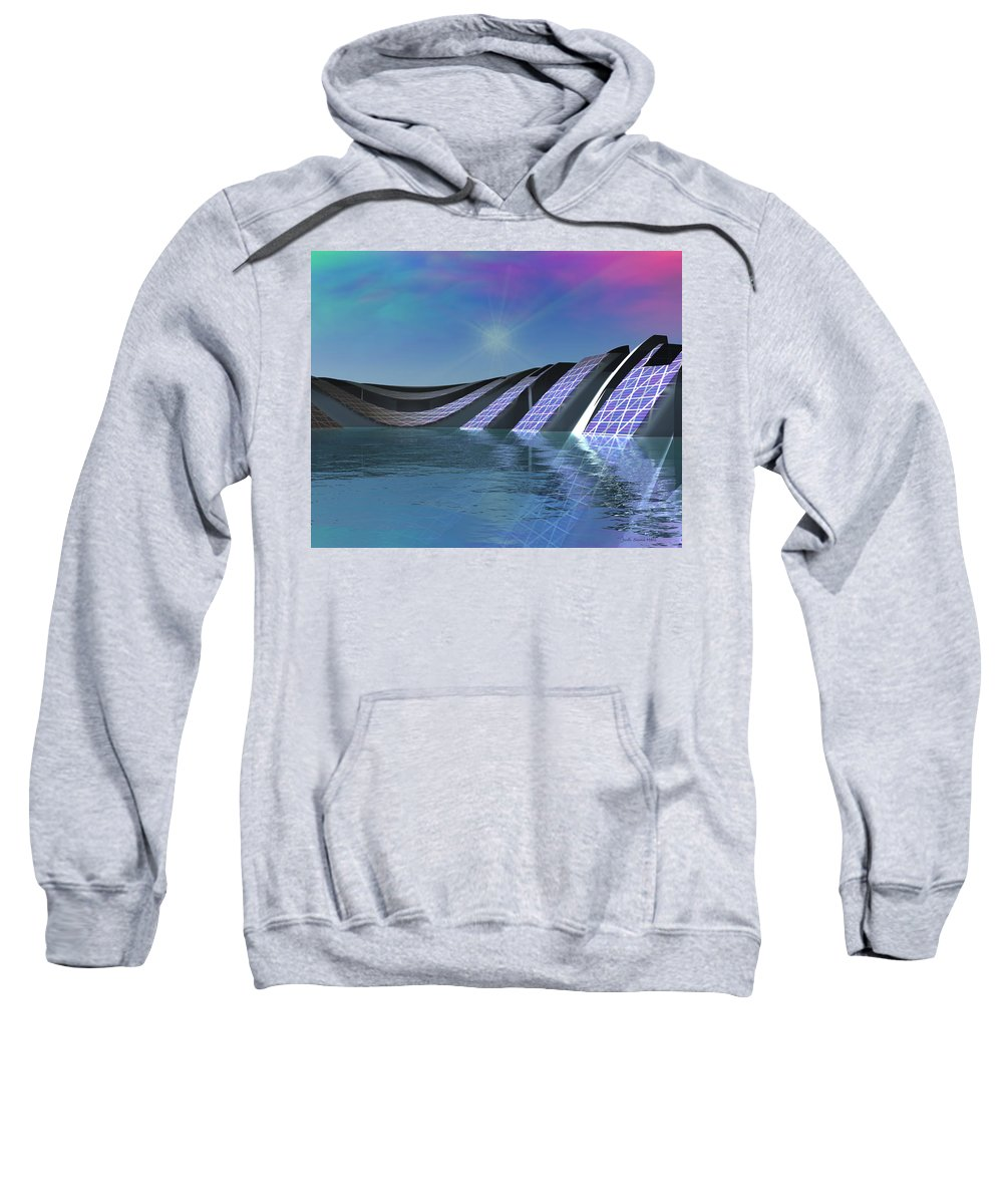 Water Sweatshirt featuring the digital art Precious Water Alien Landscape by Judi Suni Hall