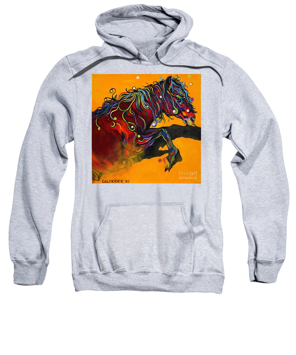 Horse Sweatshirt featuring the painting Prelude To A Dance by Alison Caltrider