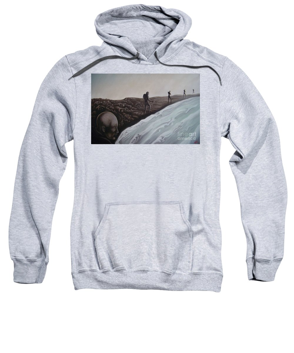 Tmad Sweatshirt featuring the painting Premonition by Michael TMAD Finney