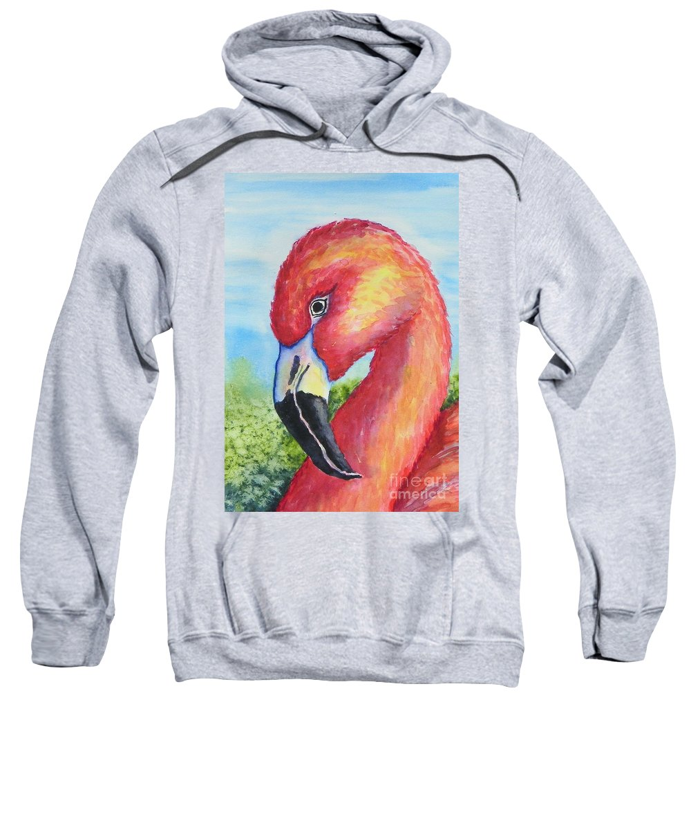 Wildlife Sweatshirt featuring the painting Pretty In Pink by Conni Reinecke