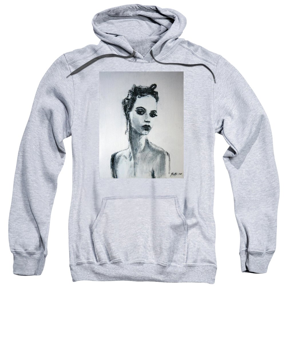 Portrait Art Sweatshirt featuring the painting Primadonna by Jarmo Korhonen aka Jarko