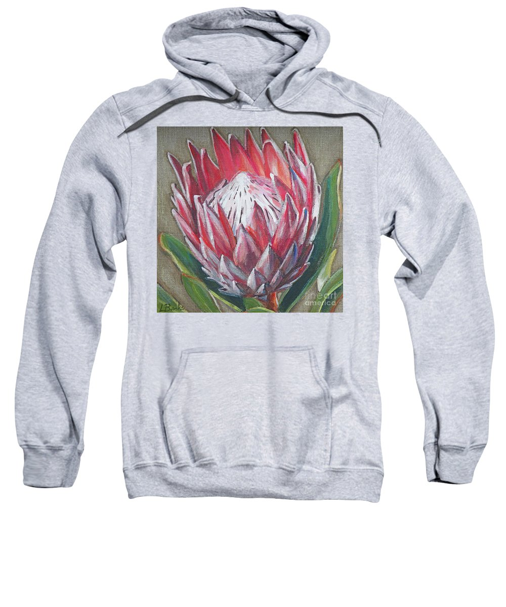 Protea Sweatshirt featuring the painting Protea by Leigh Banks