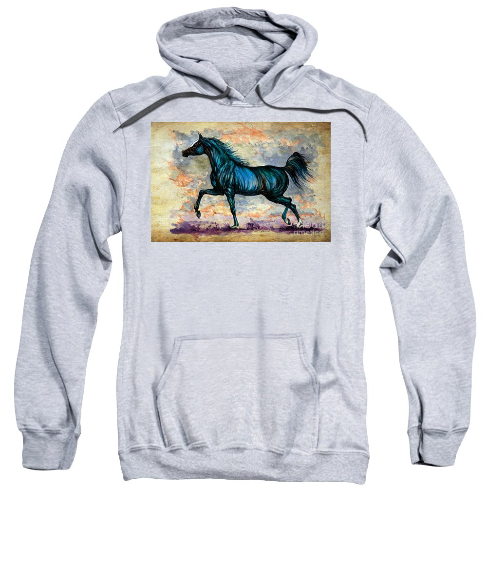 Horse Sweatshirt featuring the painting Psychedelic Blue by Angel Ciesniarska