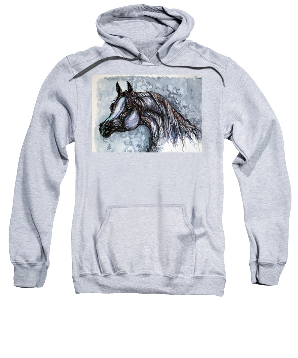Horse Sweatshirt featuring the painting Psychedelic Grey And Blue by Angel Ciesniarska