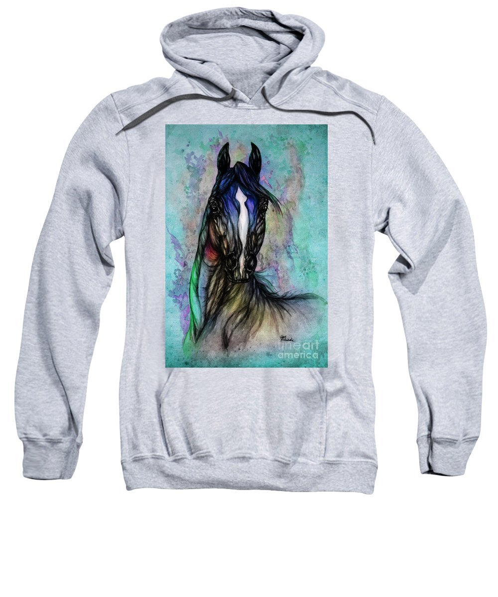 Horse Sweatshirt featuring the painting Psychodelic Blue And Green by Angel Ciesniarska
