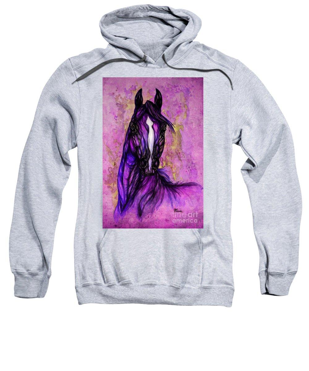 Sweatshirt featuring the painting Psychodelic Purple Horse by Angel Ciesniarska