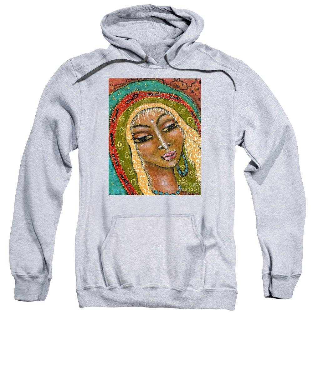 Great Mother Sweatshirt featuring the painting Pueblo Priestess by Maya Telford