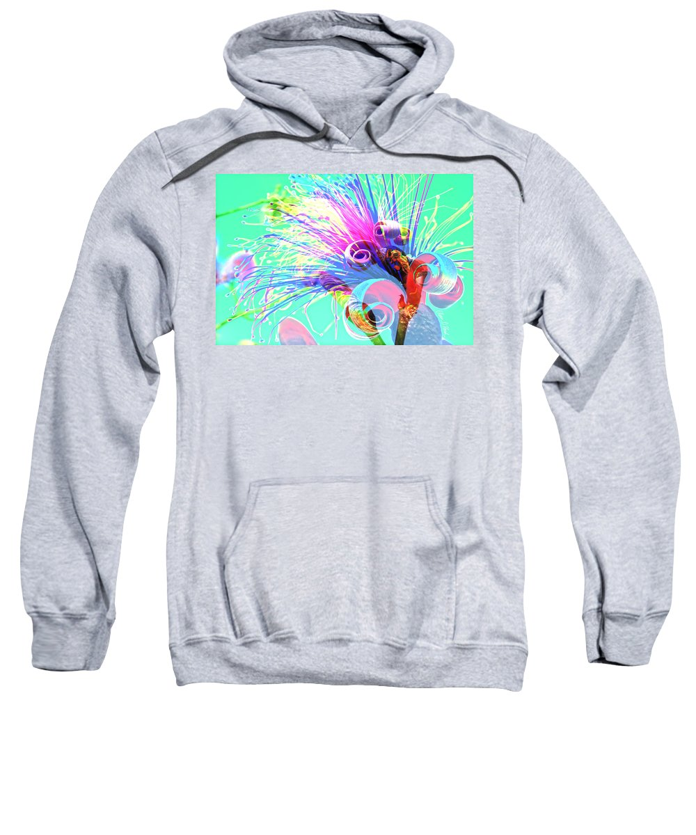 Tropical Puffy Pink Bloom Abstract Sweatshirt featuring the photograph Puffy Bloom W Bee Abstract by Olivia Novak