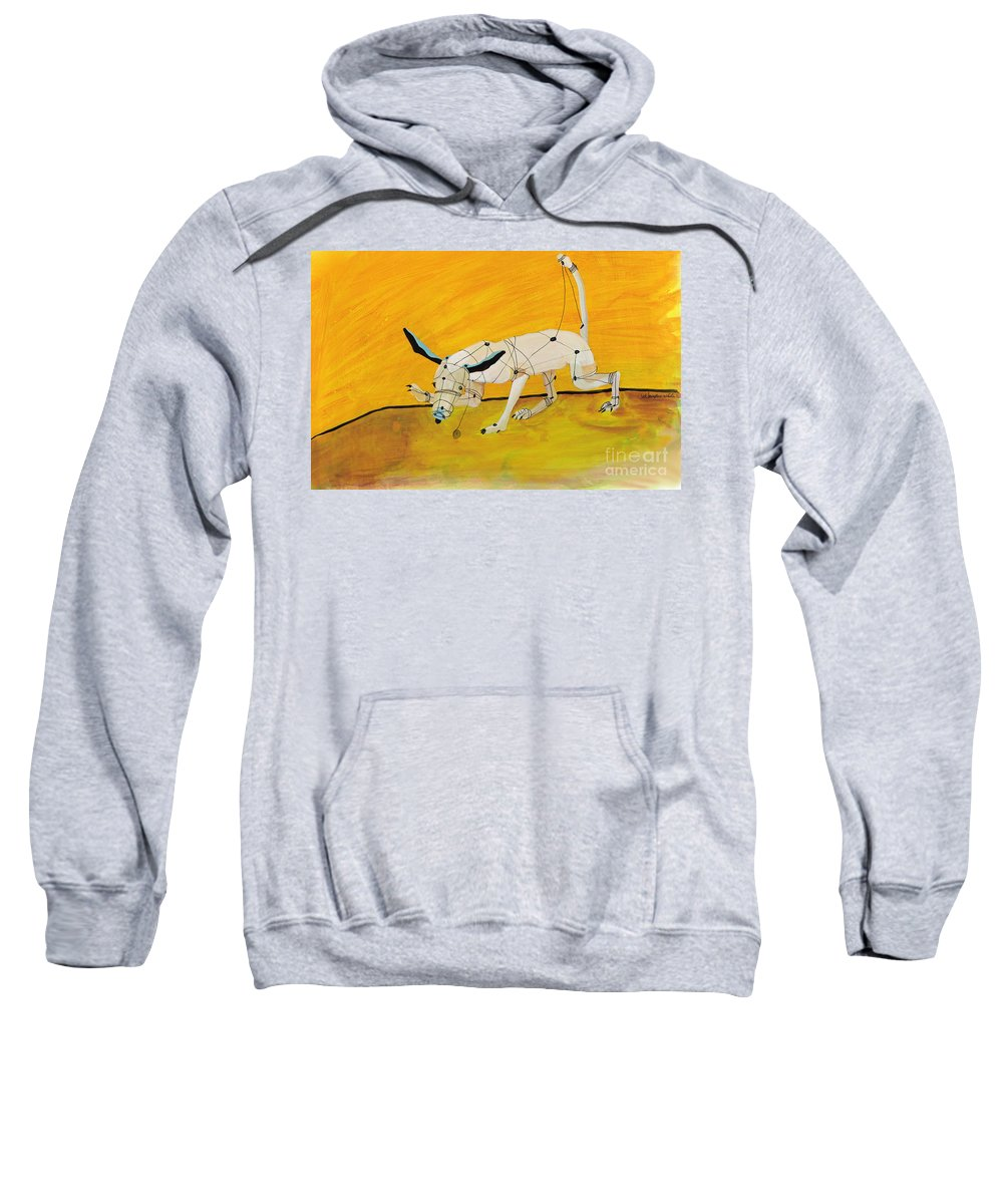 Mechanical Dog Sweatshirt featuring the painting Pulling My Own Strings by Pat Saunders-White