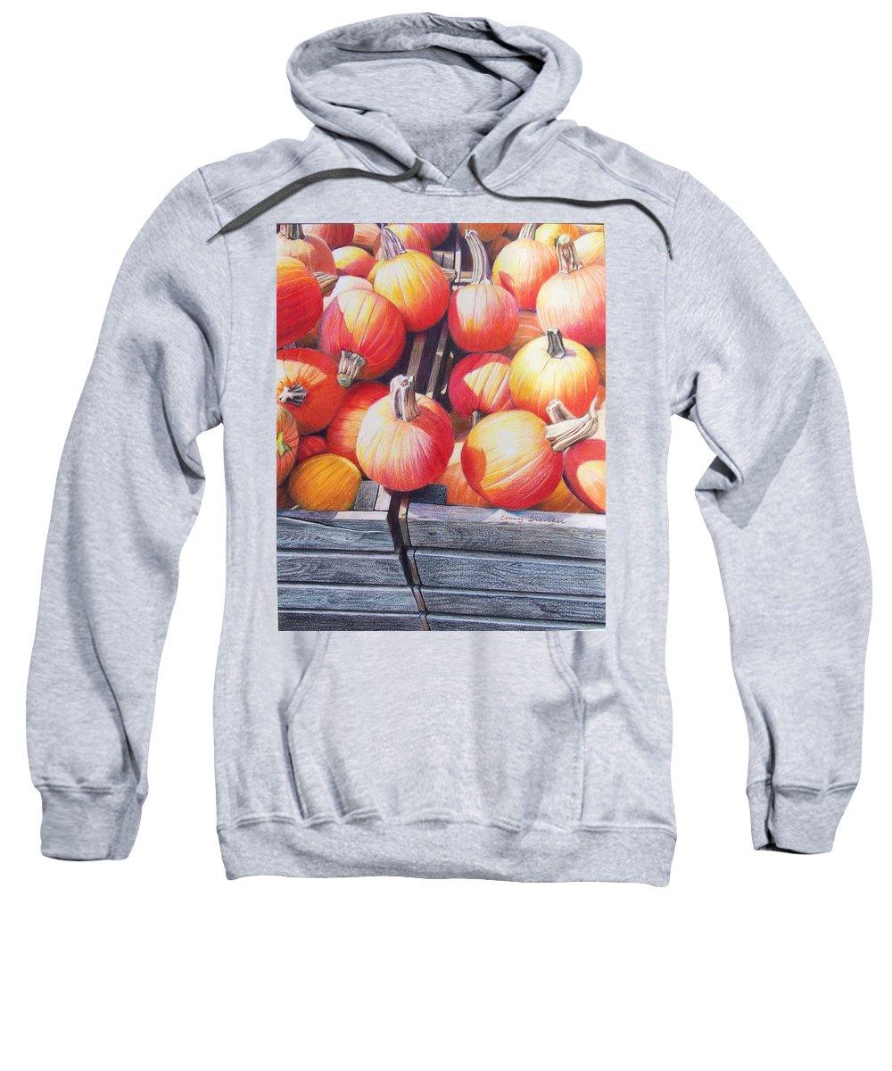 Pumpkins Sweatshirt featuring the painting Pumpkins by Constance Drescher
