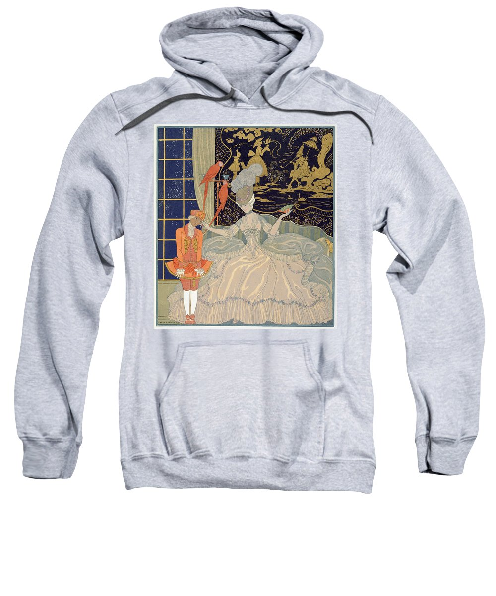 Negro Sweatshirt featuring the painting Punishing The Page by Georges Barbier