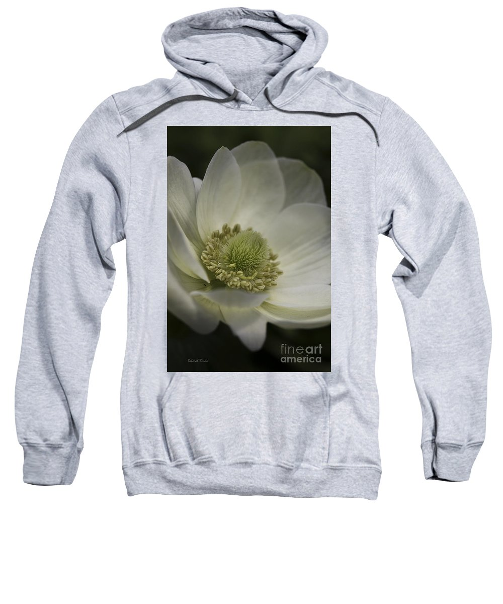 Flower Sweatshirt featuring the photograph Pureness In White by Deborah Benoit