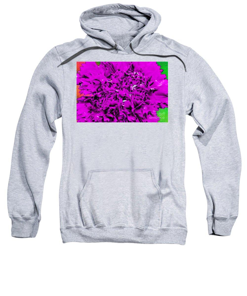 Purple Sweatshirt featuring the digital art Purple Carnation by Carol Lynch