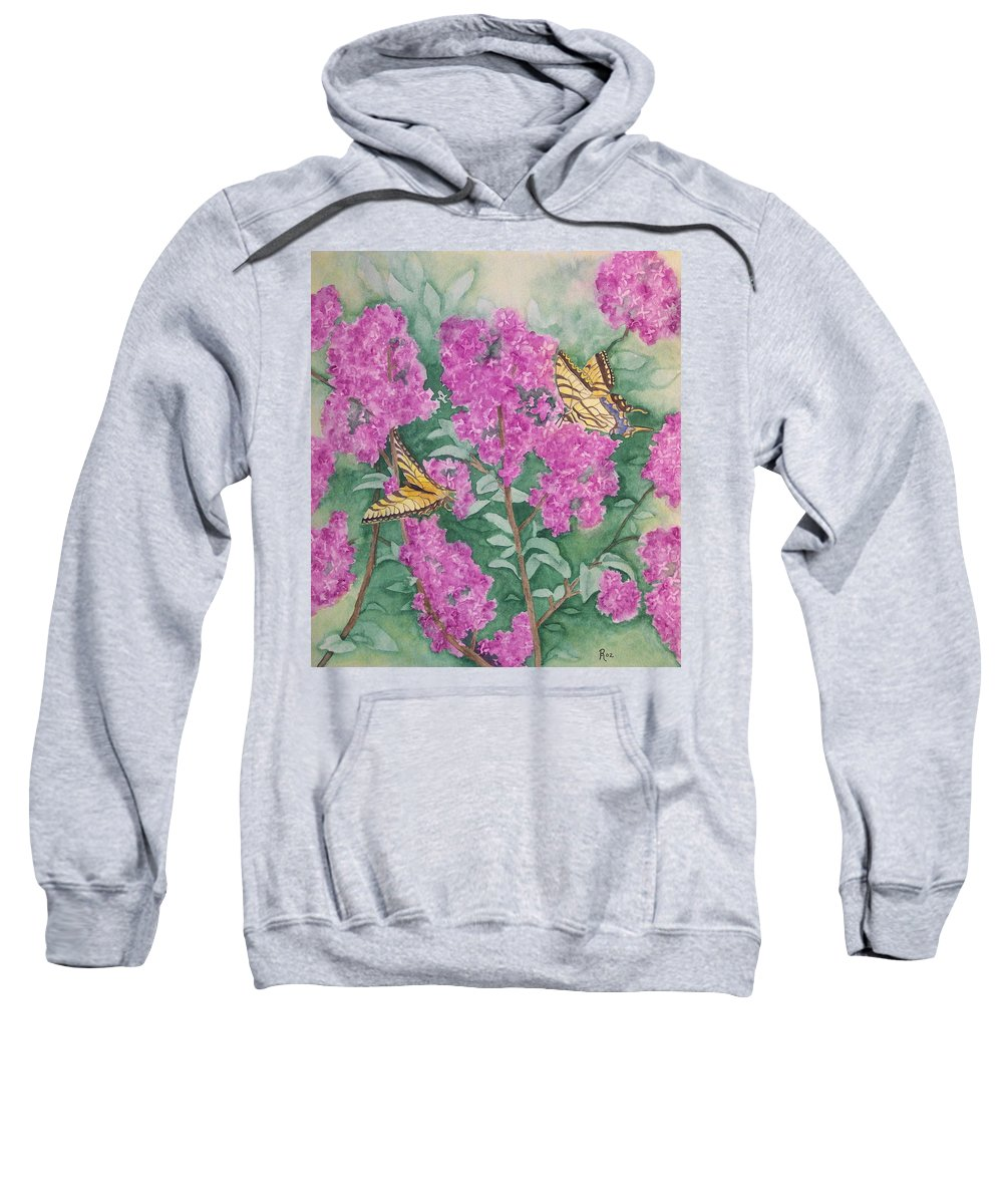Lilacs Sweatshirt featuring the painting Purple Haze Cafe by Rhonda Leonard