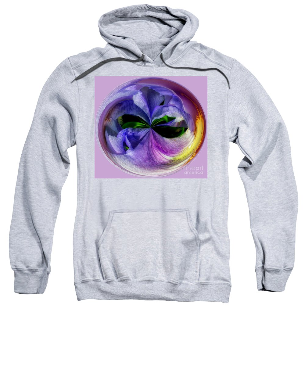 Purple Sweatshirt featuring the photograph Purple Iris Orb by Scott Hervieux