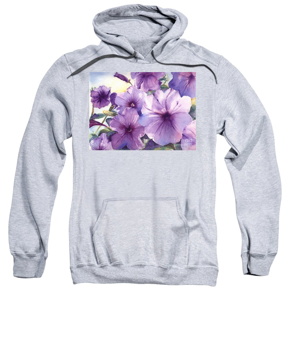 Purple Sweatshirt featuring the painting Purple Profusion by Patricia Henderson