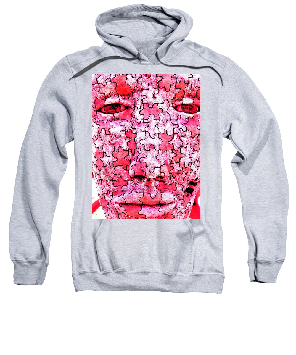 Sculpture Sweatshirt featuring the sculpture Puzzled Man by M Pace