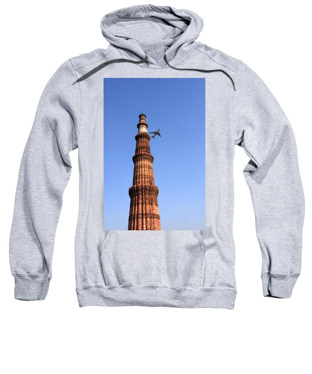 India Sweatshirt featuring the photograph Qutab Minar Minaret - New Delhi - India by Aidan Moran