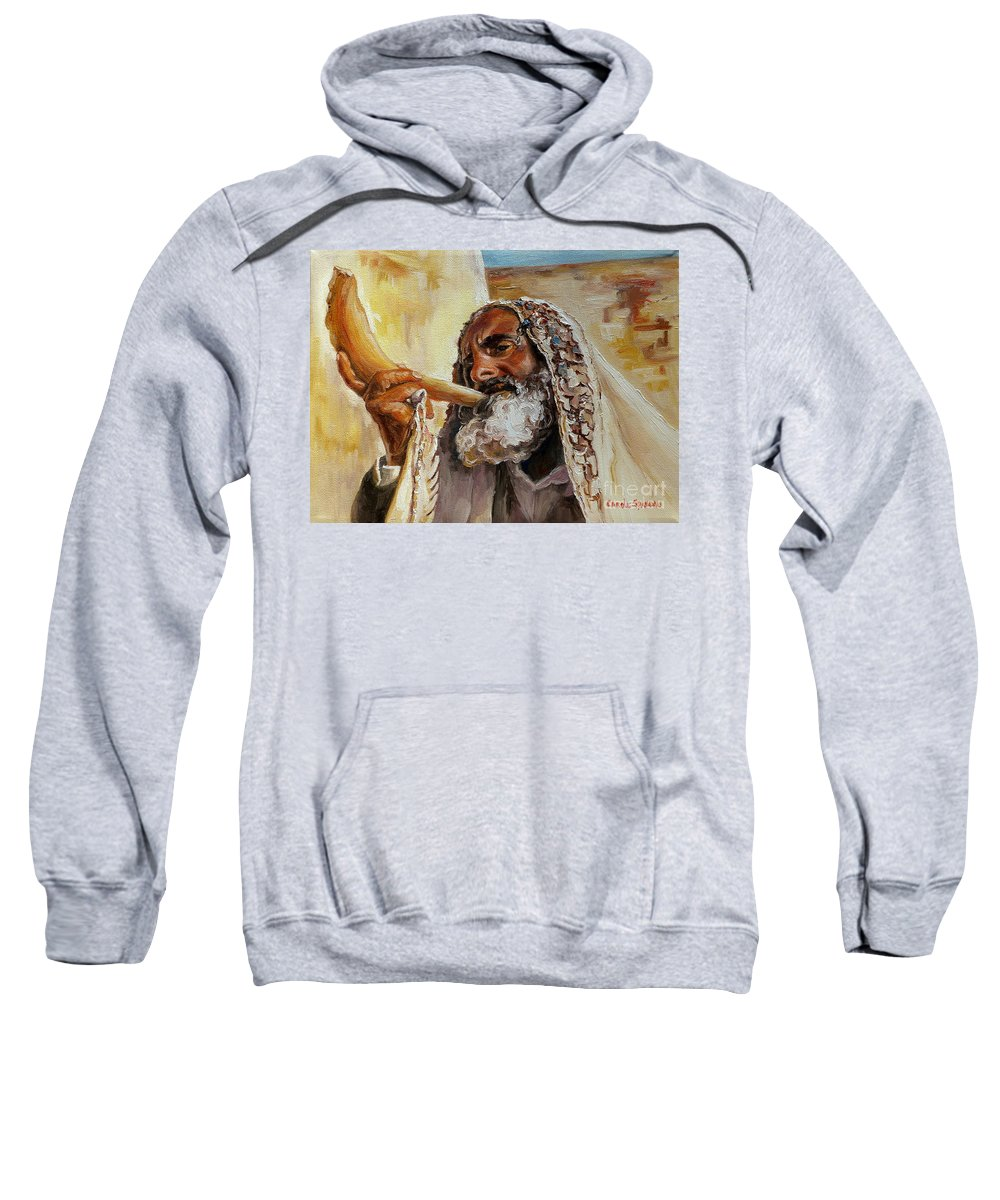 Rabbi Sweatshirt featuring the painting Rabbi Blowing Shofar by Carole Spandau