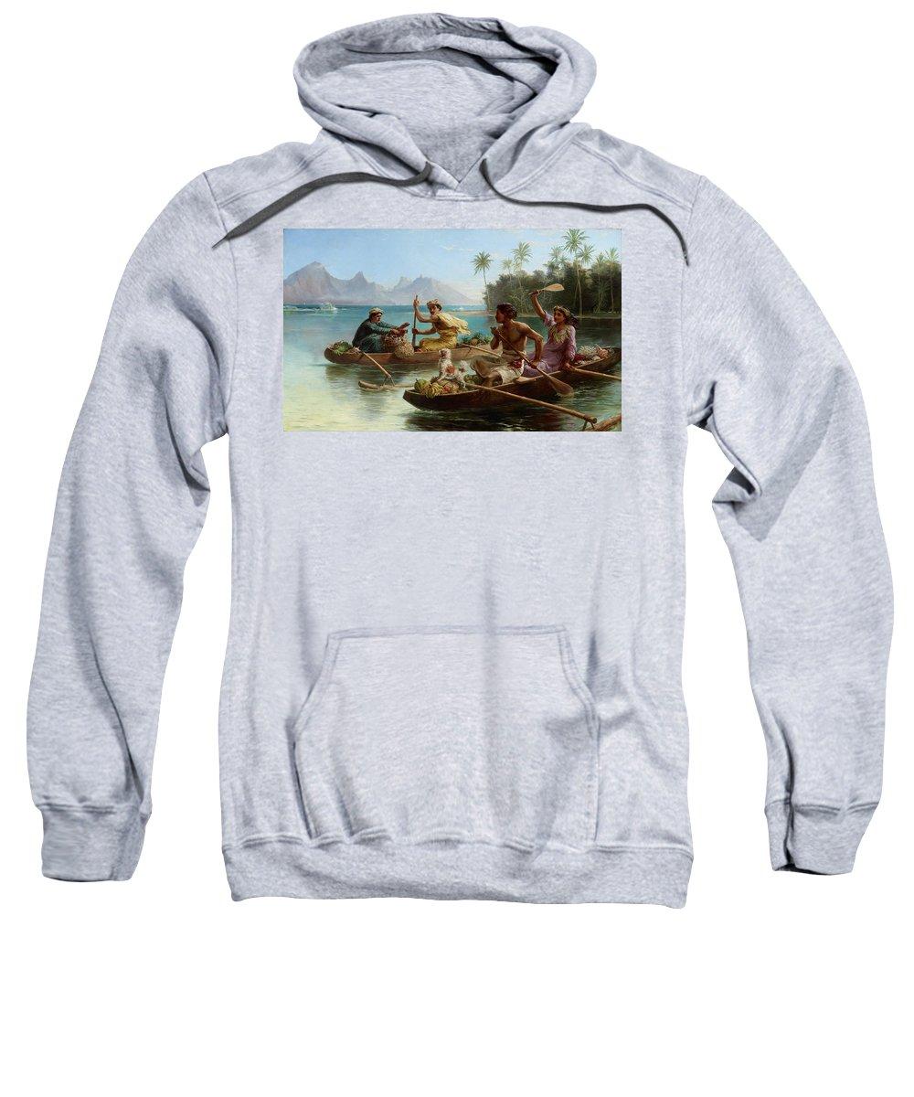 Nicholas Chevalier Sweatshirt featuring the painting Race To The Market Tahiti by Nicholas Chevalier