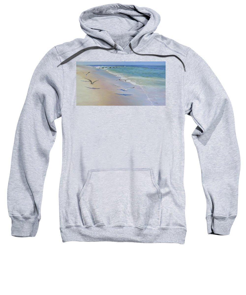 Seascape Sweatshirt featuring the painting Racing Seagulls by Lea Novak