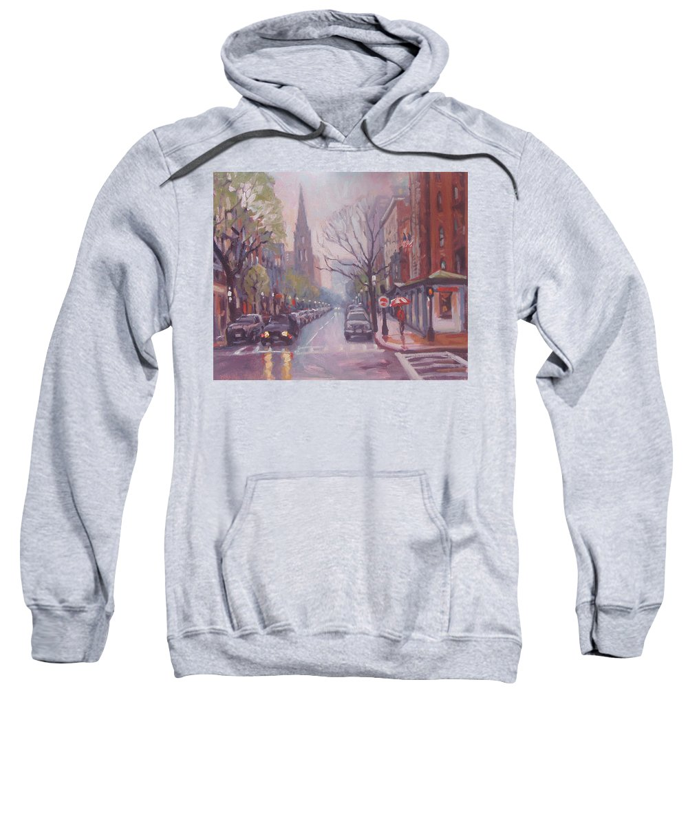 Boston Sweatshirt featuring the painting Rain On Newbury St by Dianne Panarelli Miller