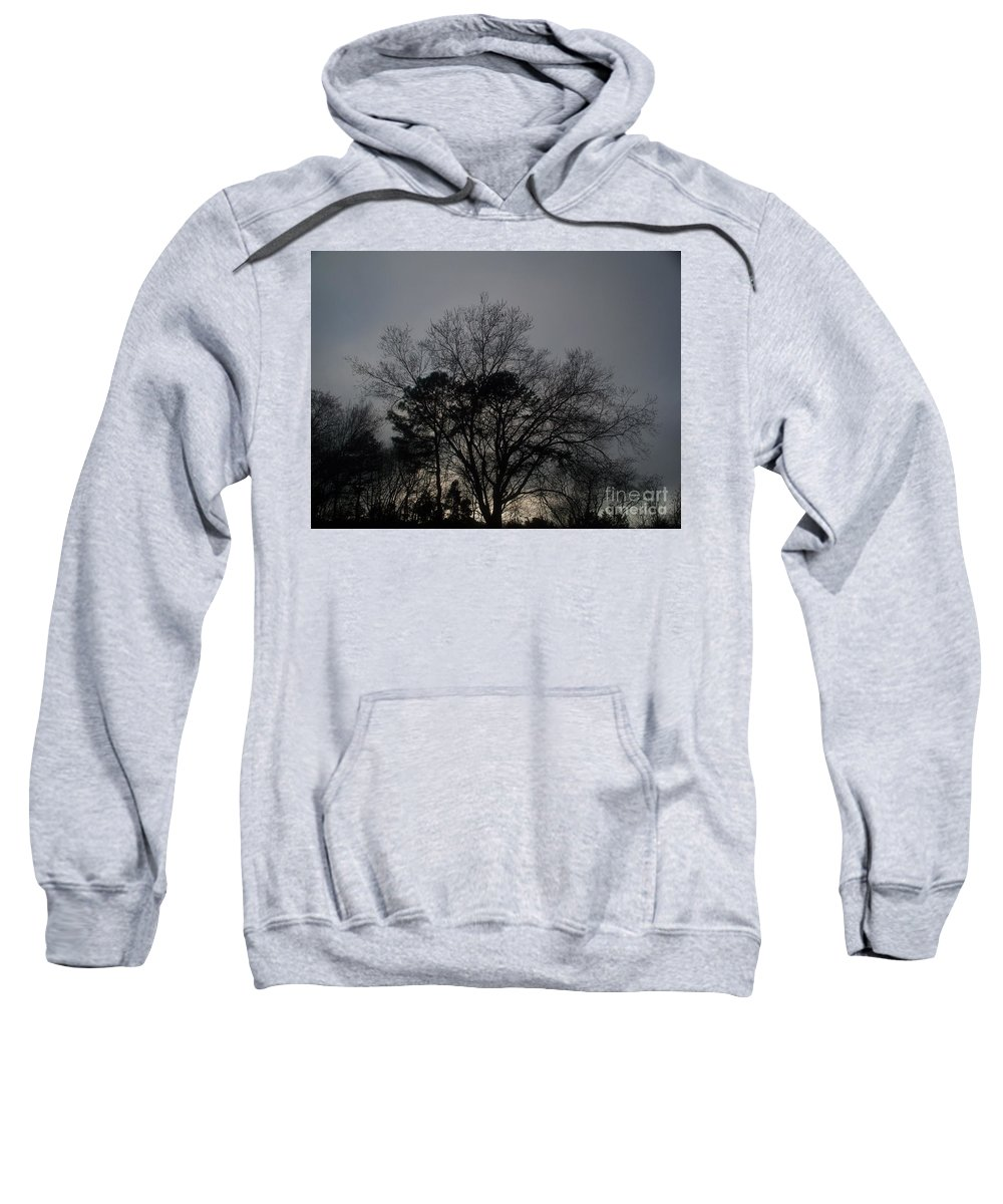 Rain Sweatshirt featuring the photograph Rain Storm Clouds And Trees by Eric Schiabor